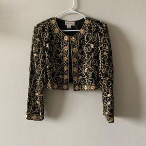 Vintage glam silk black gold beaded cropped jacket